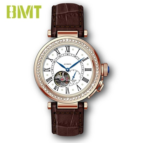 Vt-s19614m Luxury Vintage Genuine Leather Strap Steel Women Mechanical Automatic Watch