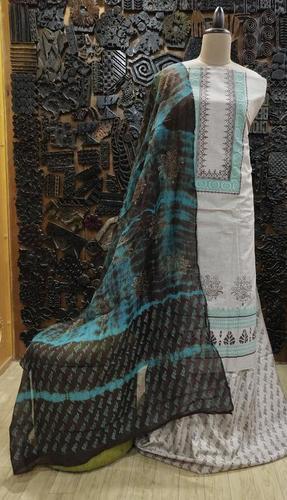 Block Printed Khadi Suit