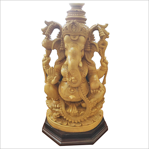 Wooden Lord Ganesh Idol