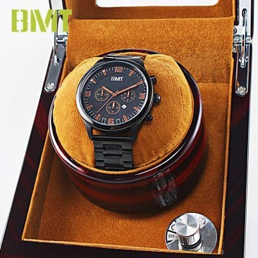 VT-WW1205 LUXURY SANDAL WOOD SUEDE LEATHER LINING 1+0 AUTOMATIC WATCH WINDER FOR SINGLE WATCH