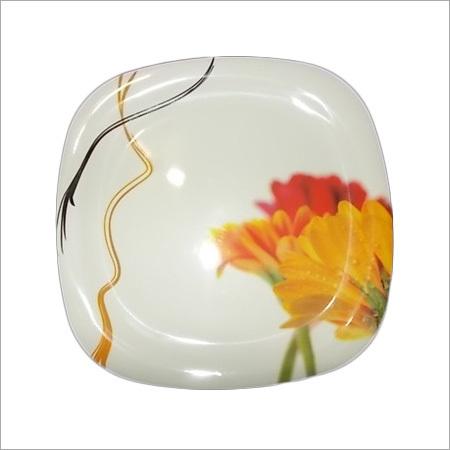 Melamine Square Round Plate White Color