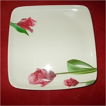 Floral Design Melamine Square Dinner Plate