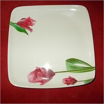 Melamine Square Dinner Plate Floral Design