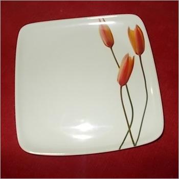 White Color Melamine Square Dinner Plate