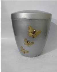 Pewter Iron Urn with Three Gold Butterfly