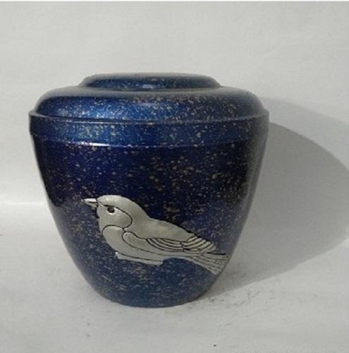 Birds Blue Metal Iron Urn