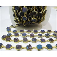 Natural Druzy Cushion Shape Connector Chain , 10mm , Sold Per Foot