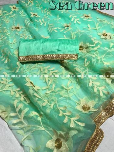 embroidery banglori silk saree