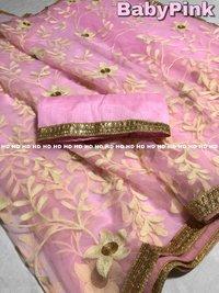 embroidery banglori silk saree
