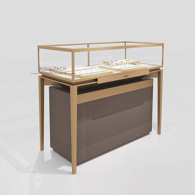 Brushed Jewelry Glass Display Showcase With Removable Storage Case