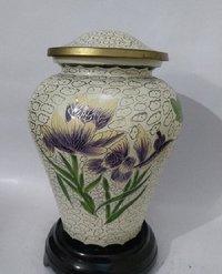 White Cloisonne Cremation Urn