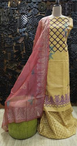 Block printed suit   (khadi hand embroidered suit )