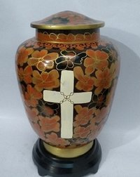 Cloisonne Vase Cremation Urn with Cross