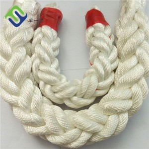 High Strength White Nylon 8 Strand Braided Rope For Marine