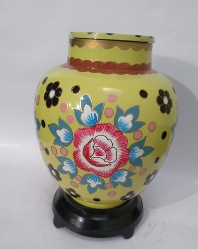 Yellow Cloisonne Vase Cremation Urn