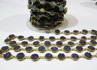 Natural Druzy Round Connector Chain Titanium