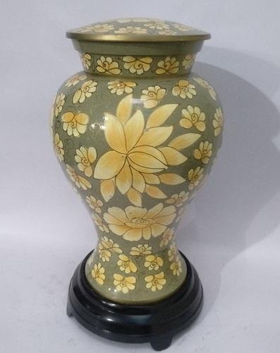 Etienne Green Flower Cloisonne Cremation Urn
