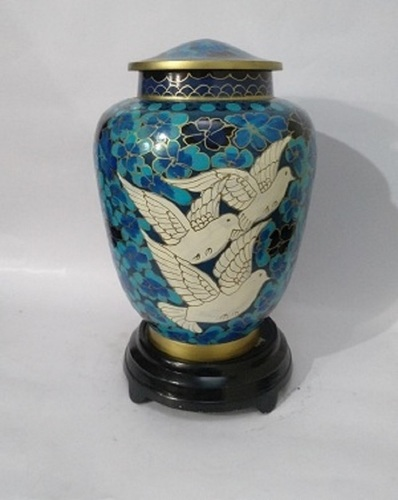 Birds Flying Cloisonne Cremation Urn