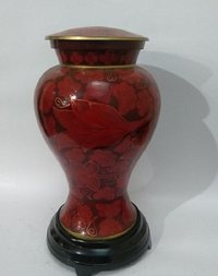 Cloisonne Urn For Ashes-Red
