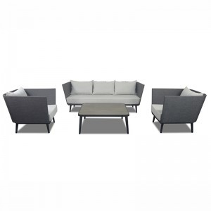Project Custom Outdoor Aluminum Grey Table And Sofa Set