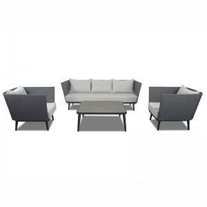 Project Custom Outdoor Aluminum Grey Table And Sofa Set