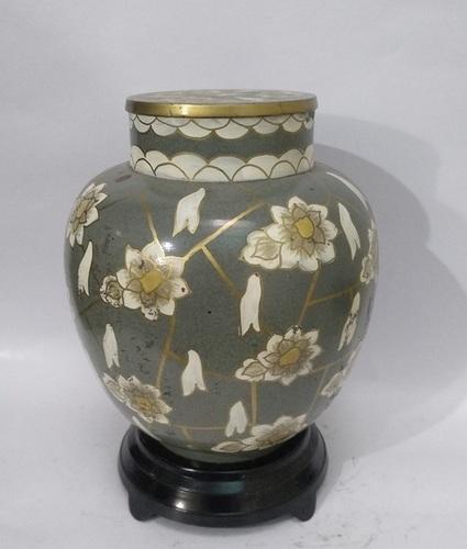 Pear Blossom Cloisonne Silver light Urn