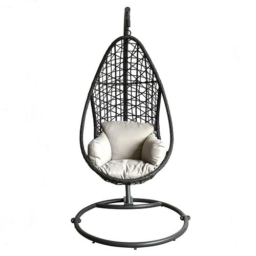 Weather Resistant Black Rattan Outdoor Swing Chair