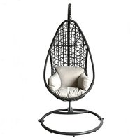 Weather Resistant Black Rattan Outdoor Swing Chair