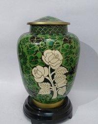 Green Cloisonne vase Cremation Urn with Rose