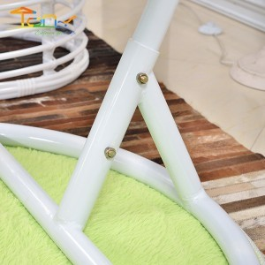 Outdoor White Rattan Hammock With Stand Cushions