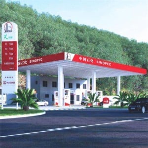 Space truss structure of gas station