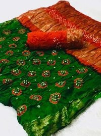 Cotton Base Bandhani Sarees