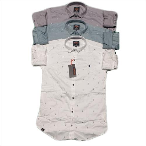 Mens Casual  Printed Linen Shirt