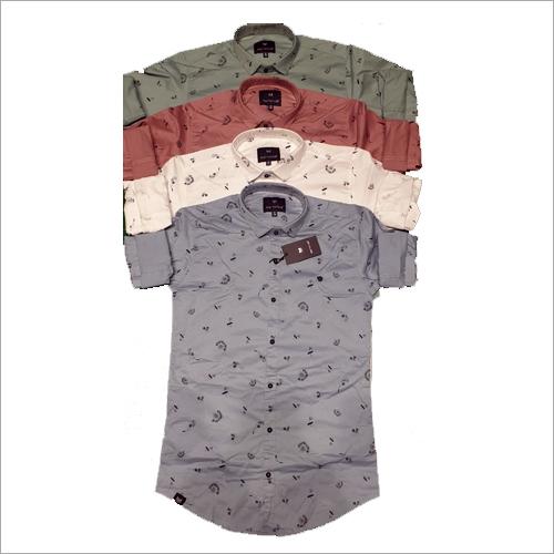 Mens Satin Full Sleeve Printed Shirt