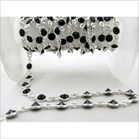Black CZ 4mm Connector Chain Sterling Silver Chain