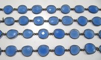 Natural Aqua Blue Chalcedony Free Shape Connector Chain Bezel Chain