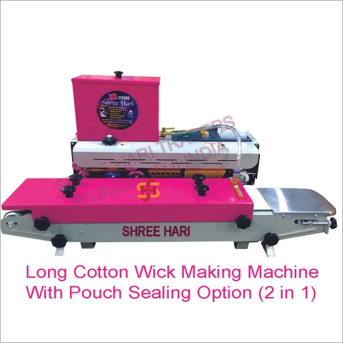 Long Cotton Wick Making Machine With Pouch Sealing Option