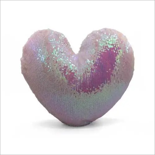 Heart Shape Sequin Pillow Cover (pink )