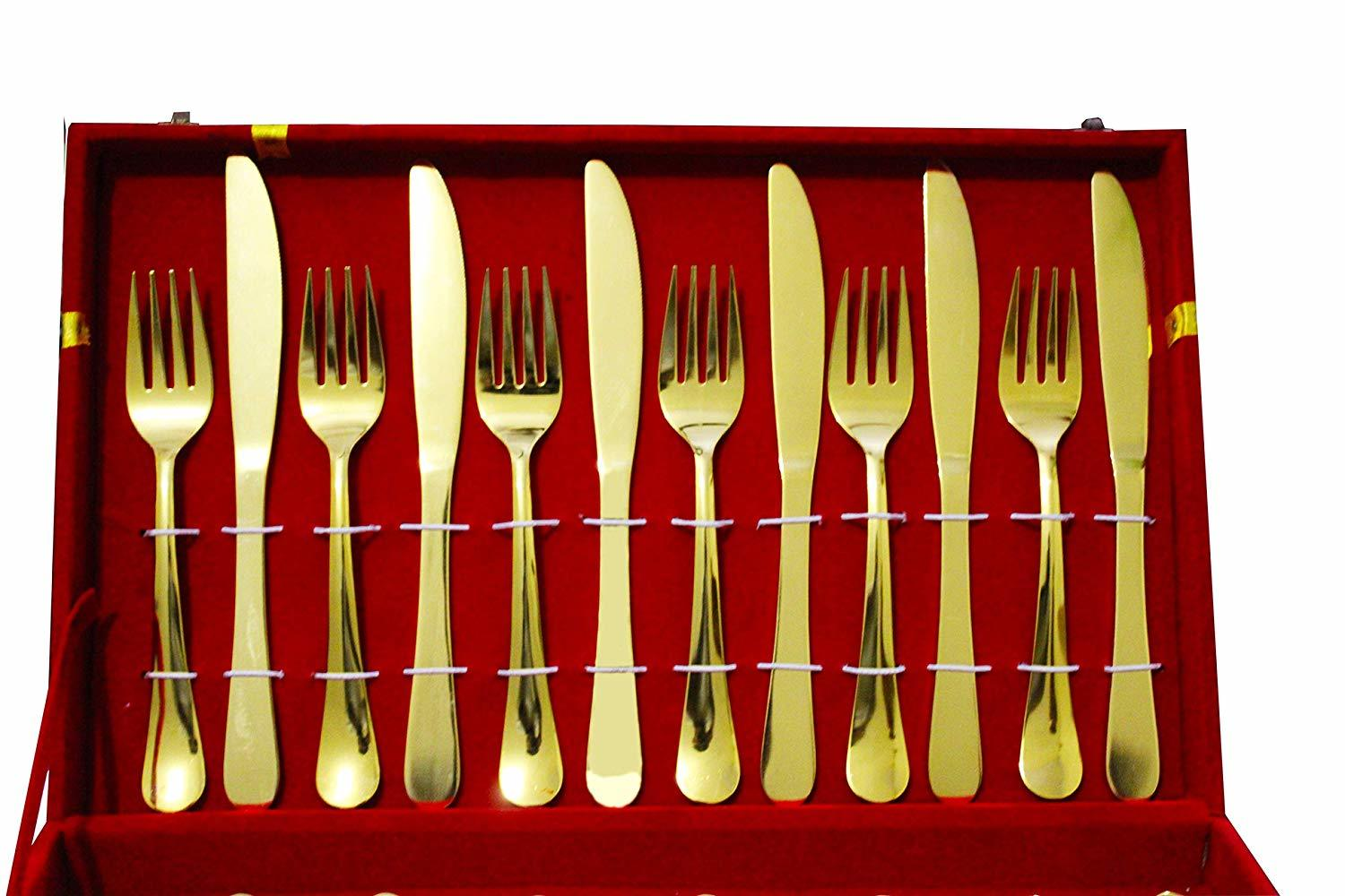 SHAHI 26pcs Stainless Steel Gold Plated Royal Cutlery Set Dinner Spoon Knives Fork Set Tableware Dinner Set:, Gold