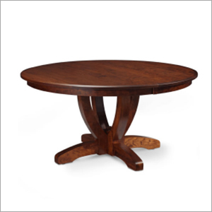 Contemporary Round Shape Walnut Polish Coffee Table