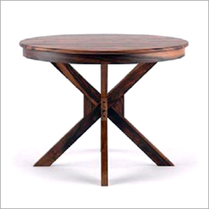 Round Shape Walnut Finish Coffee Table