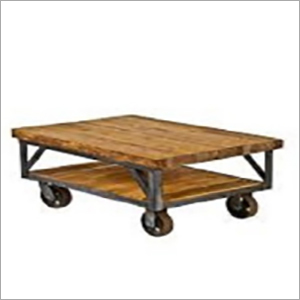 Cast Iron Wheel Legs Coffee Table