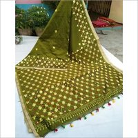 Embroideried work cotton silk saree