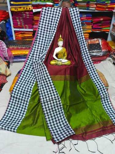 Cotton silk cheak border saree