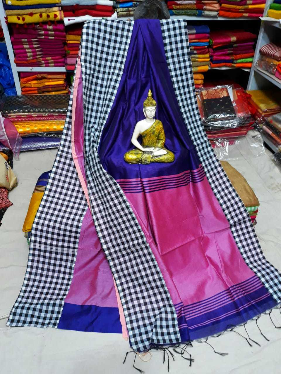 Cotton silk cheak border saree