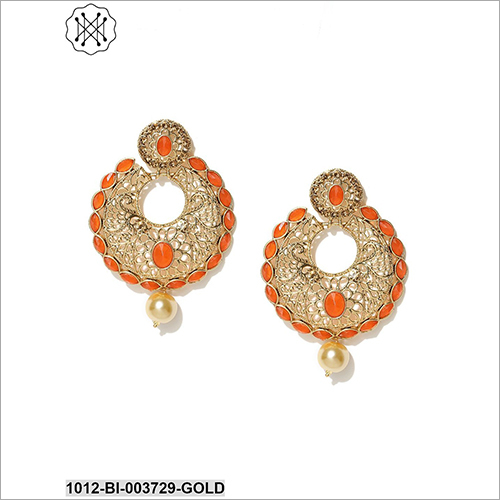 Ladies Gold Plated Studded Earring