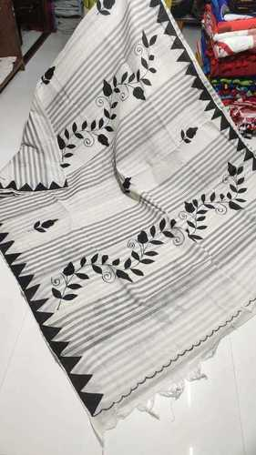 Embroideried Cotton applique worked handloom saree