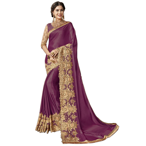 Heavy embroidered border Lycra saree
