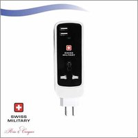 Swiss Military Mini Mult-Function Universal Extension Cord With 2 USB Ports (UAM15)