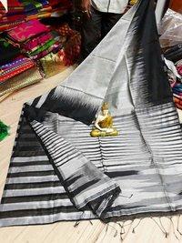Ikkat pattern cotton silk handloom saree